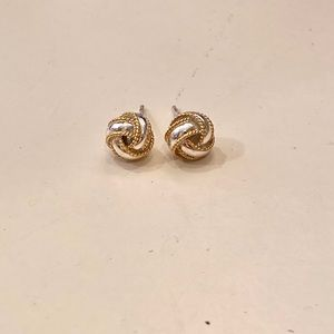 Silver and gold knot earrings